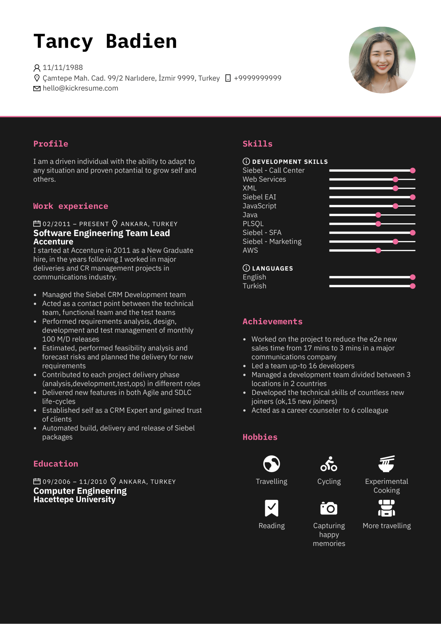 Accenture Oftware Engineering Team Lead Resume Sample