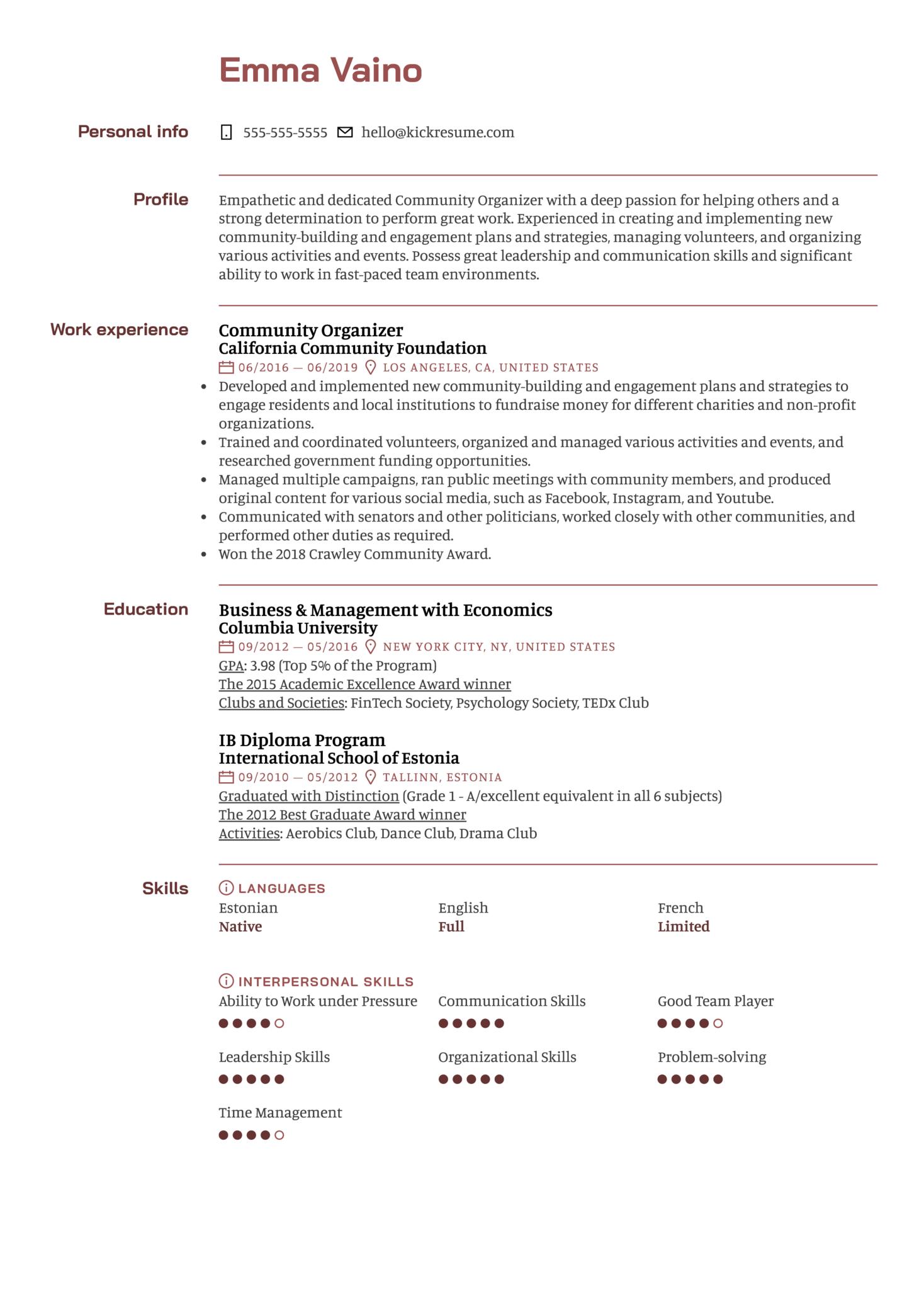 Community Organizer Resume Sample (parte 1)