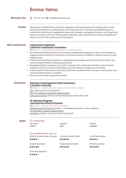 Community Organizer Resume Sample