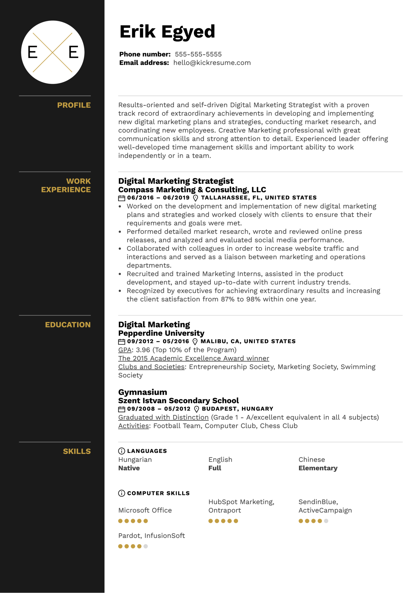 Resume Examples By Real People Digital Marketing