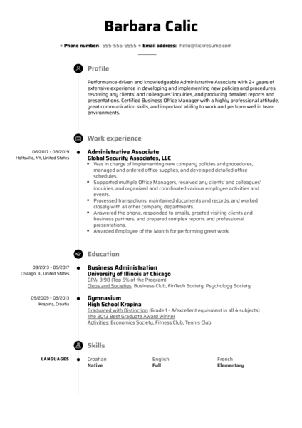 Administrative Associate Resume Sample
