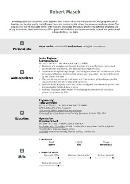 Junior Engineer Resume Sample