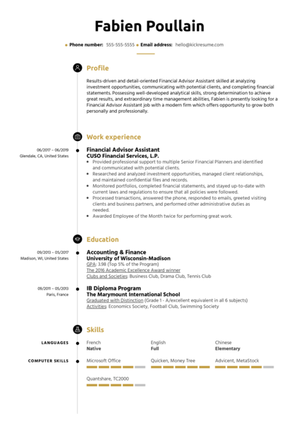 Financial Advisor Assistant Resume Sample