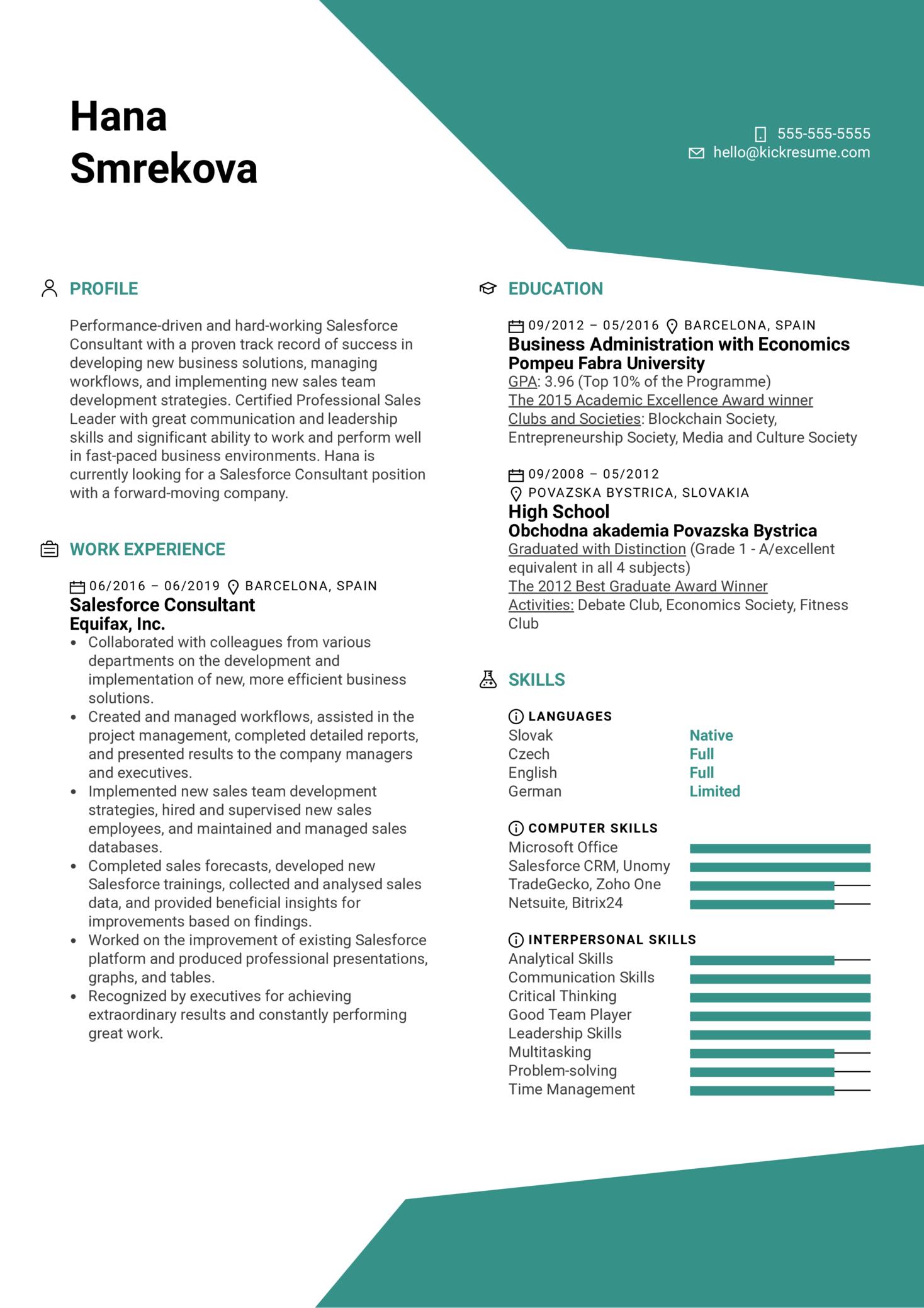 Salesforce Consultant Resume Example