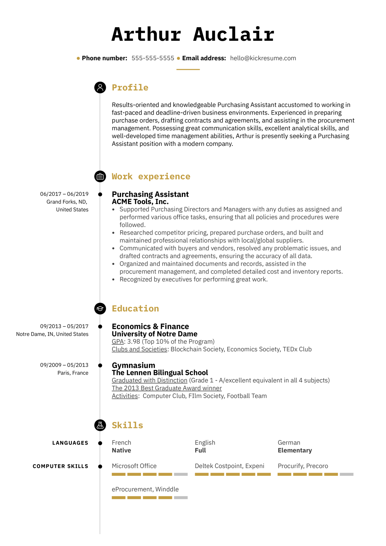 resume examples by real people  purchasing assistant