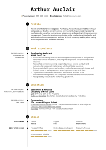 Purchasing Assistant Resume Template