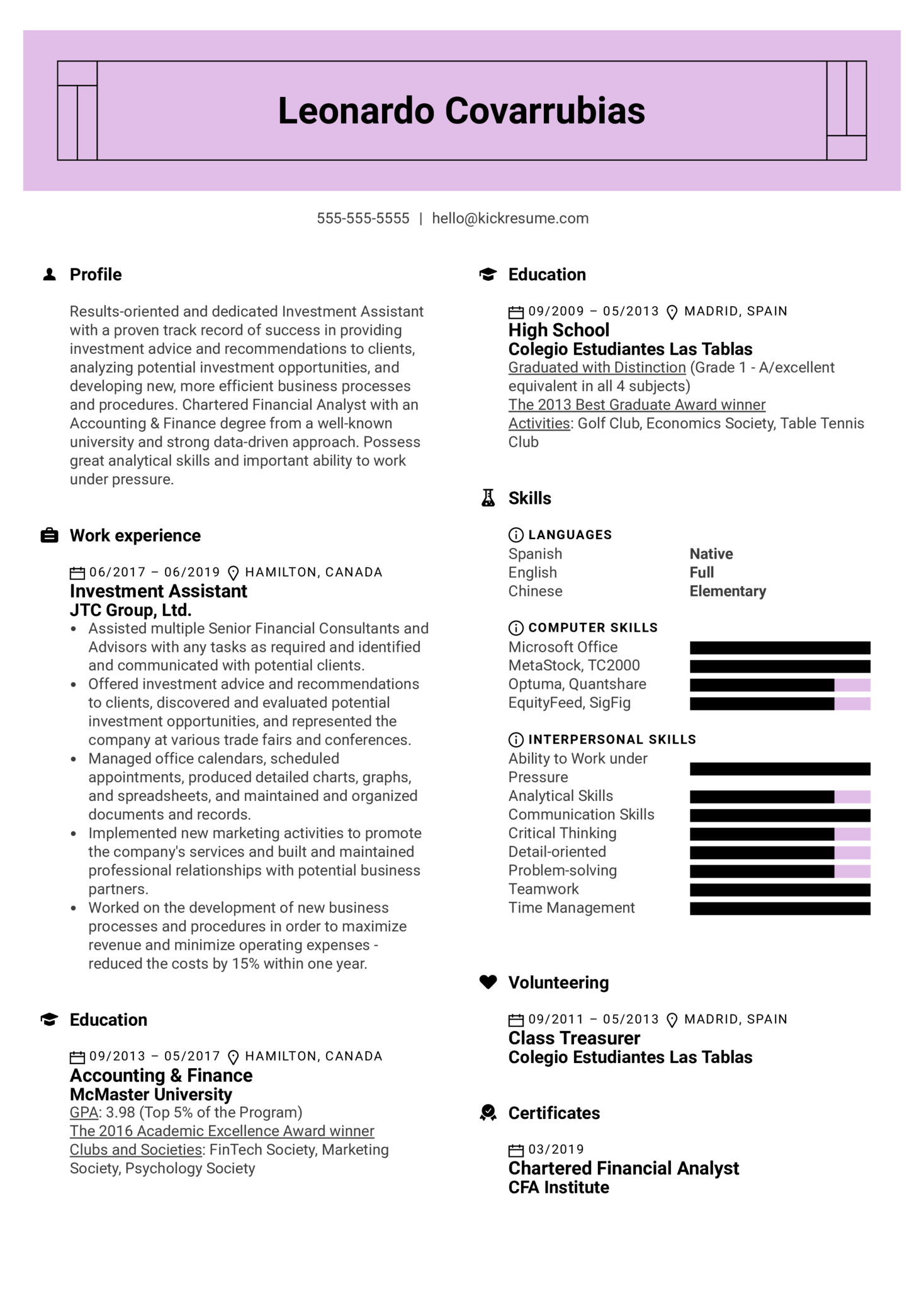 Investment Assistant Resume Sample