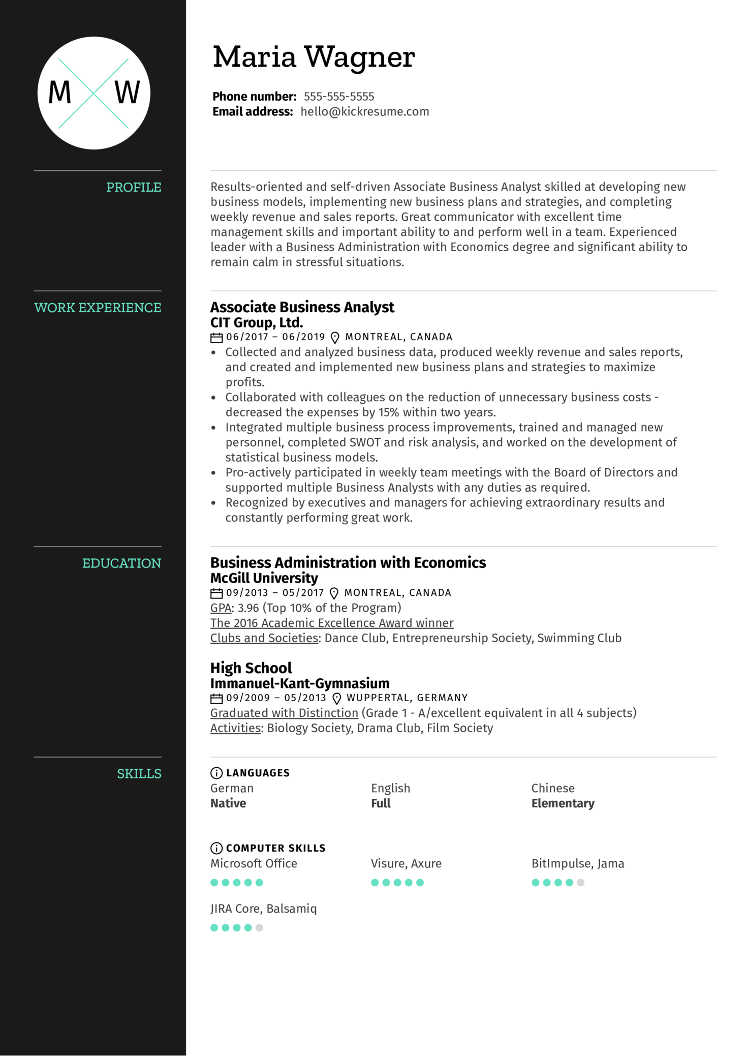 resume examples by real people  associate business analyst