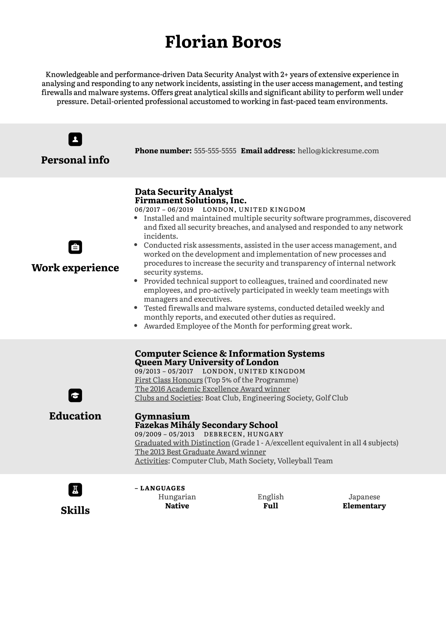 Data Security Analyst Resume Example (parte 1)
