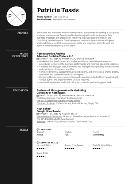 Administrative Analyst Resume Example