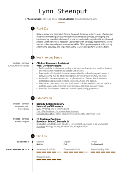 Clinical Research Assistant Resume Example