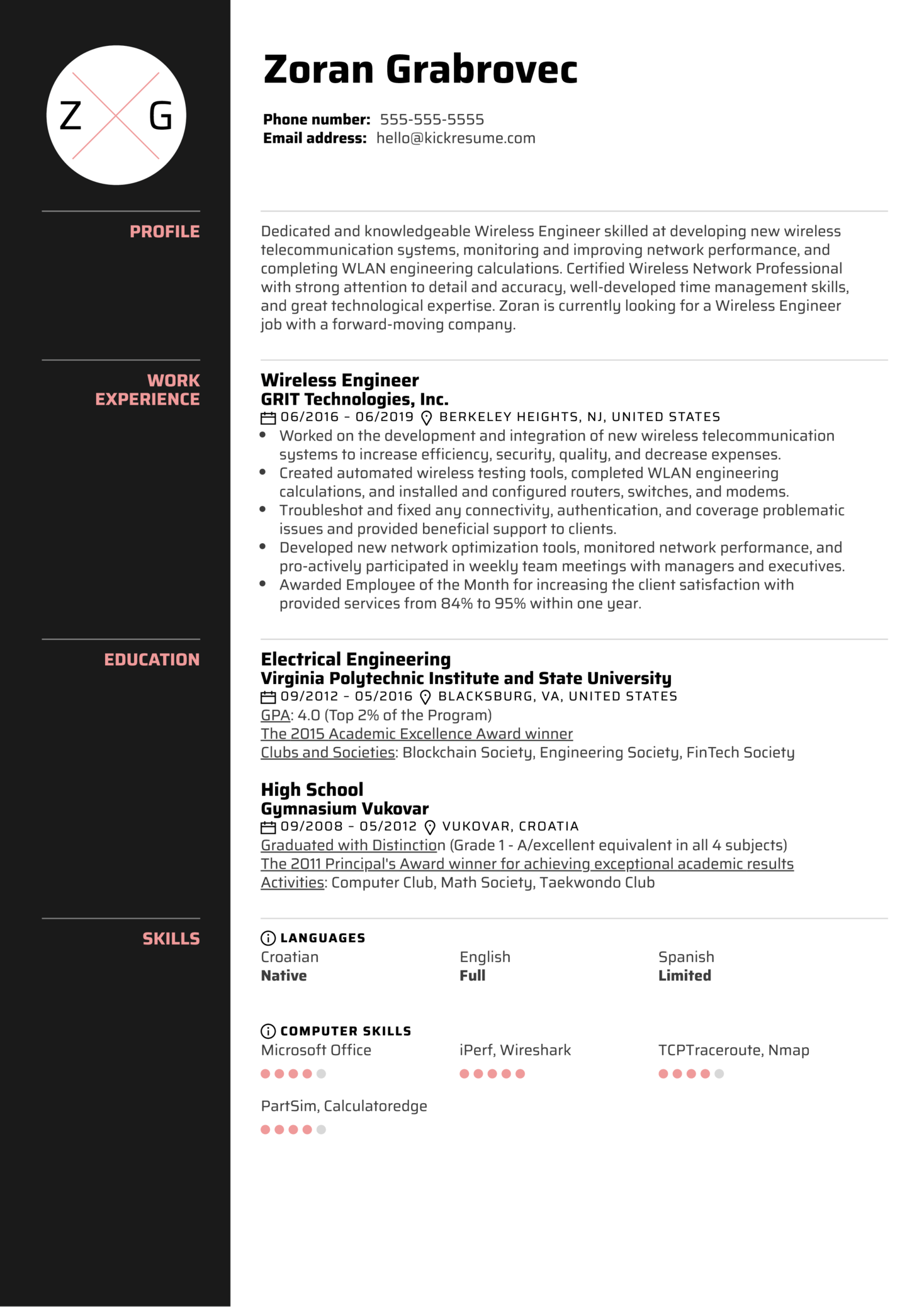 wireless engineer resume sample