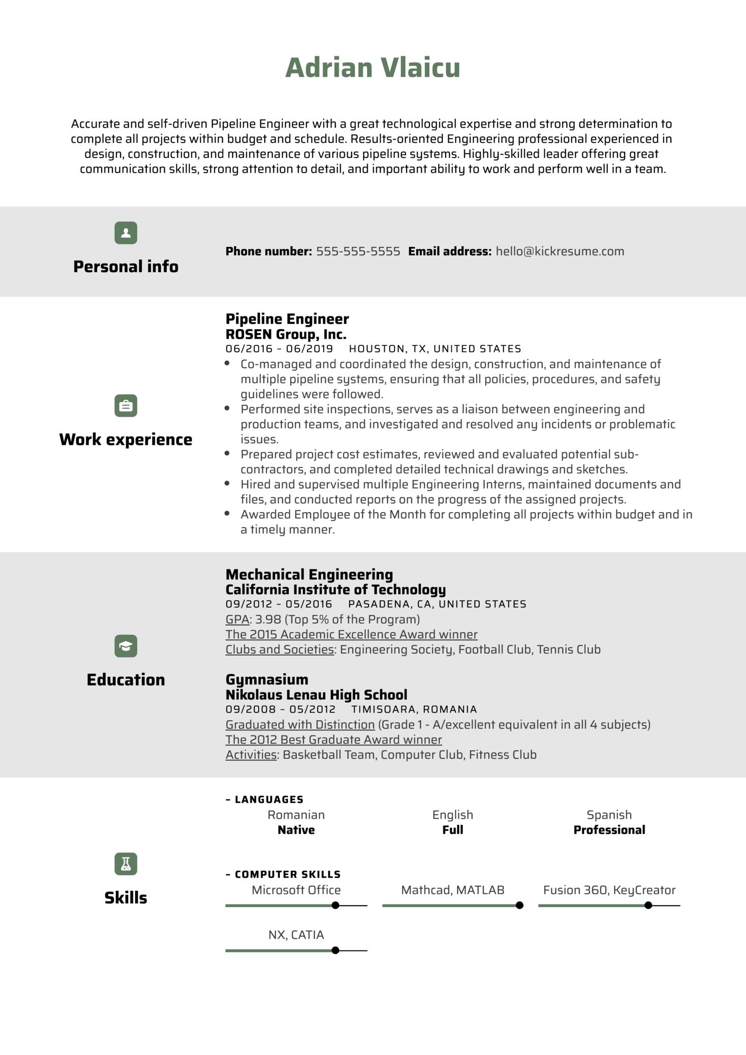 Pipeline Engineer Resume Sample