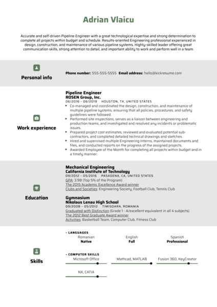 Pipeline Engineer Resume Sample