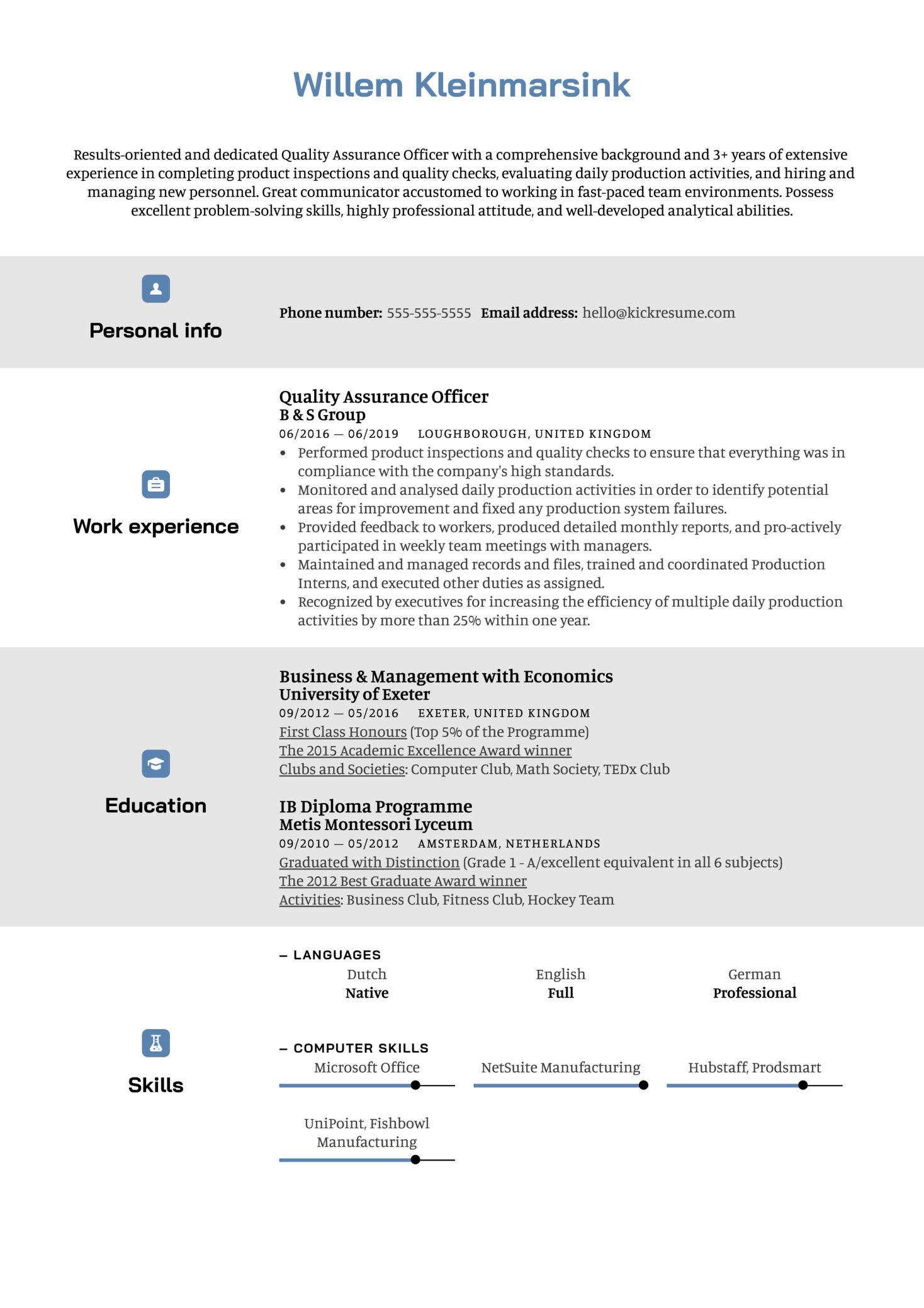 Quality Assurance Officer Resume Example Kickresume