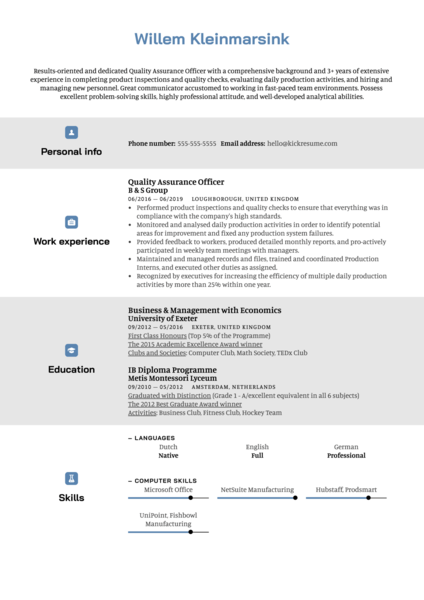 Quality Assurance Officer Resume Example
