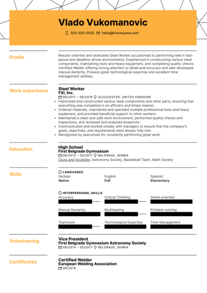 Steel Worker Resume Example