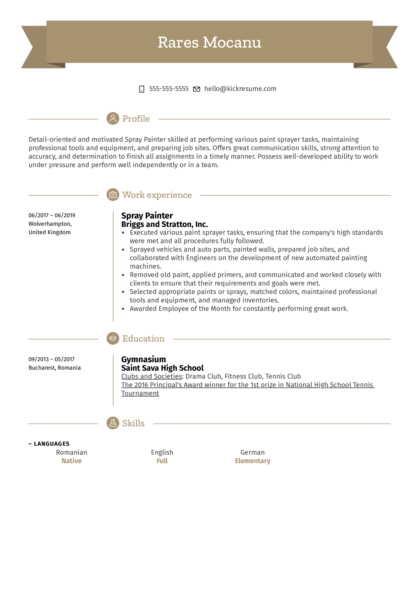 Spray Painter Resume Sample