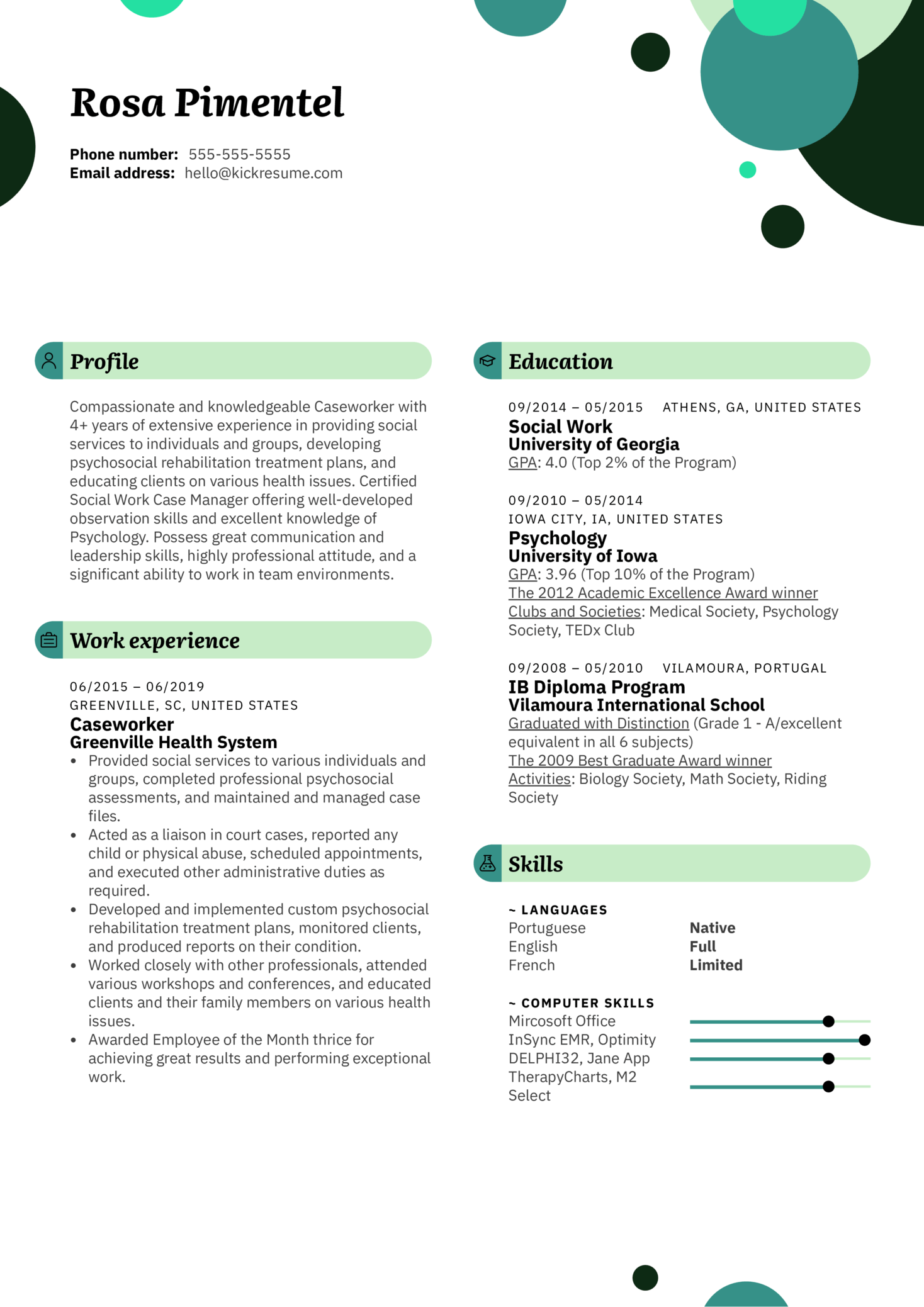 Caseworker Resume Example