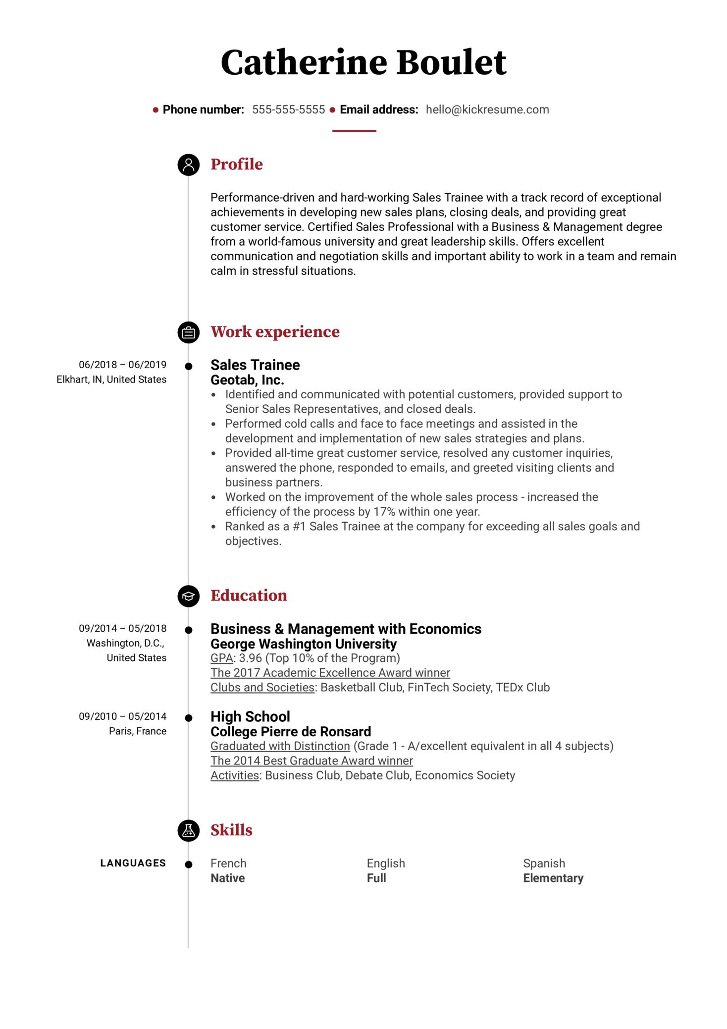 Sales Trainee Resume Example (časť 1)