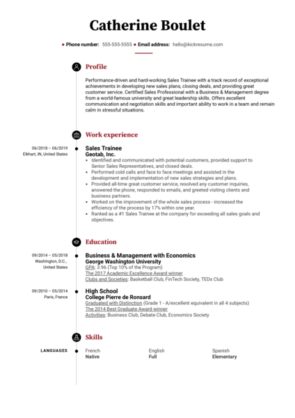 Sales Trainee Resume Example