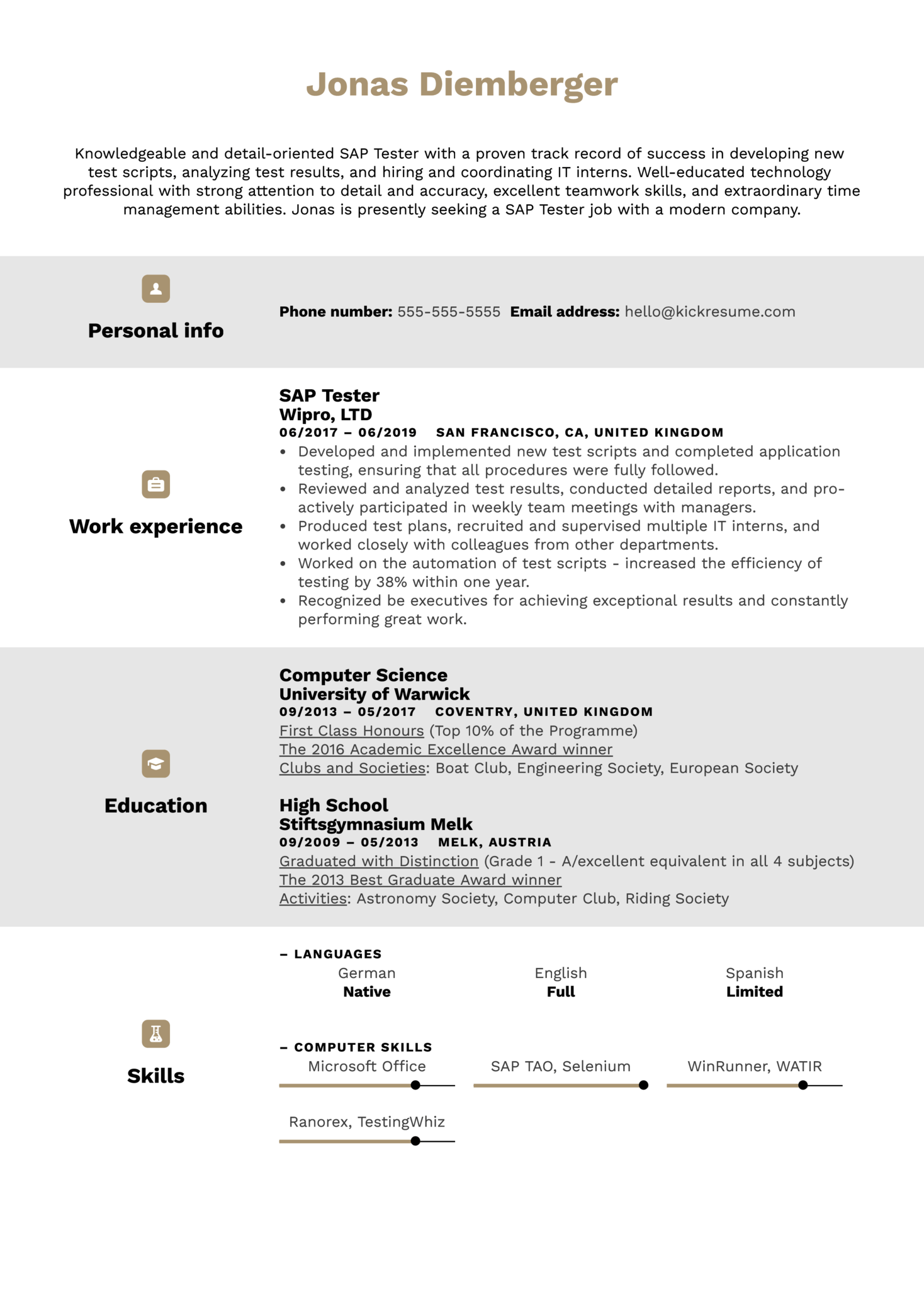 SAP Tester Resume Example