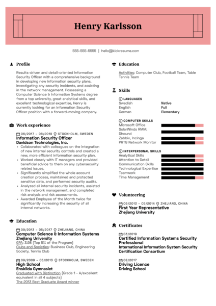 Information Security Officer Resume Sample