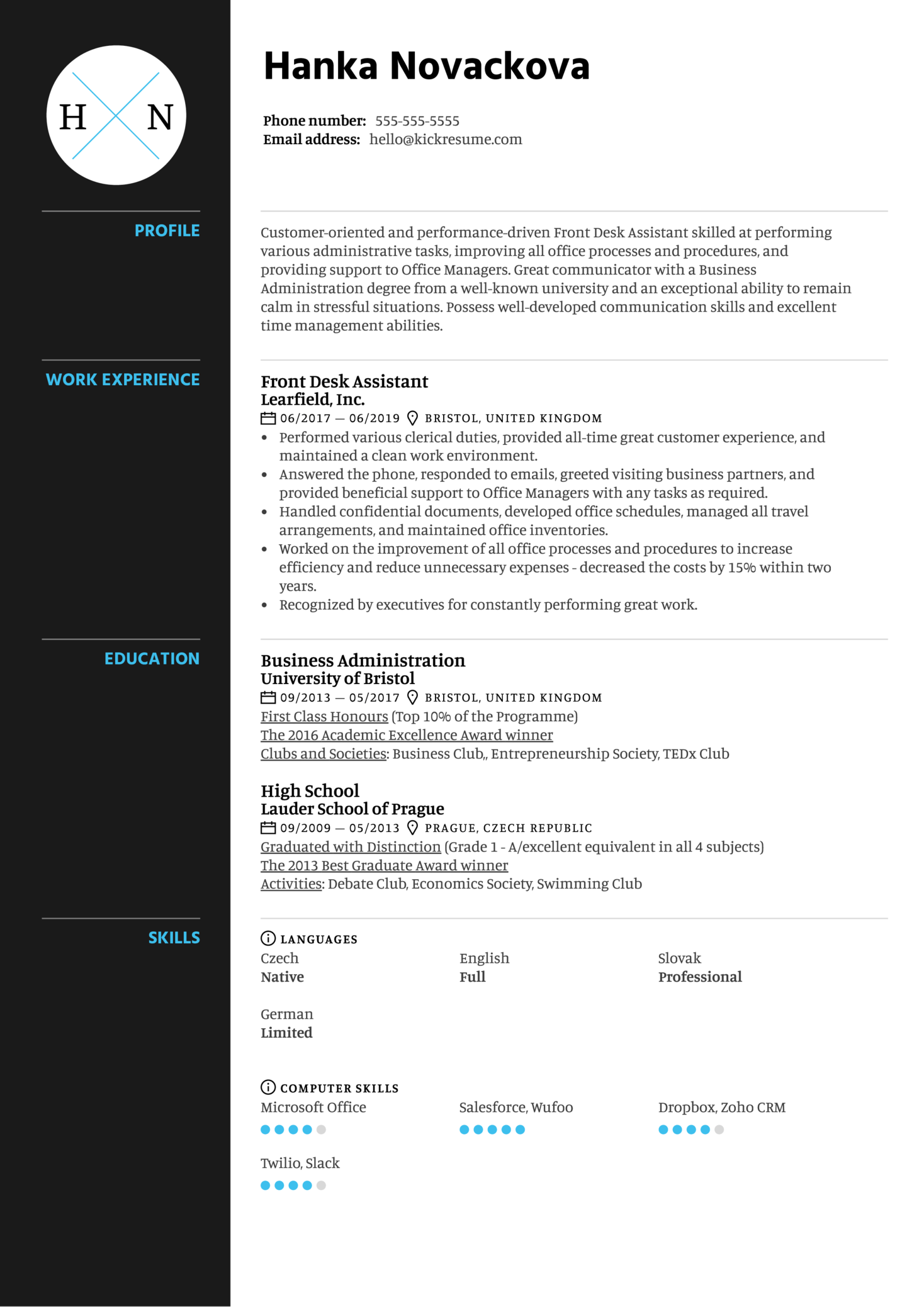 Front Desk Assistant Resume Example