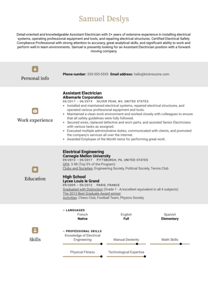 Assistant Electrician Resume Sample