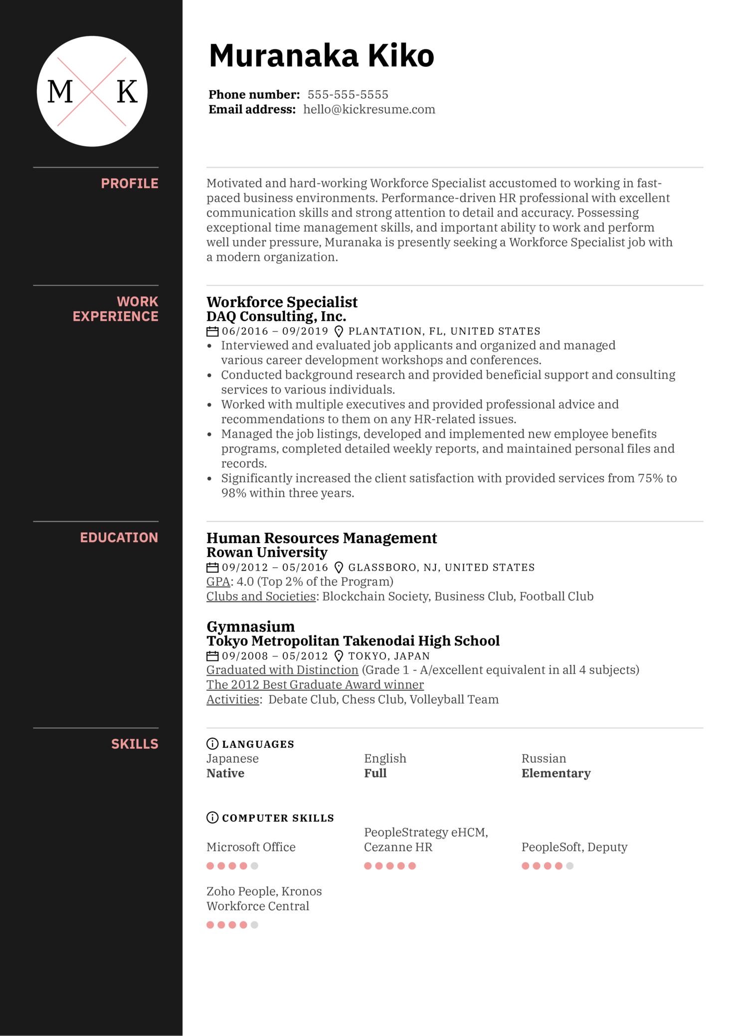 Resume Examples by Real People: Workforce Specialist Resume ...
