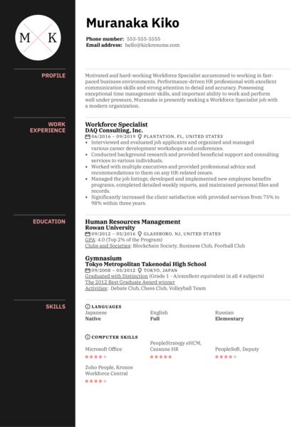 Workforce Specialist Resume Sample