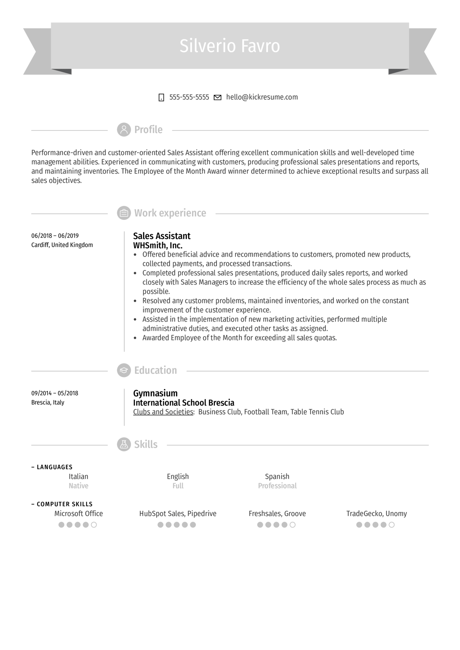 Resume Examples By Real People Sales Assistant Resume