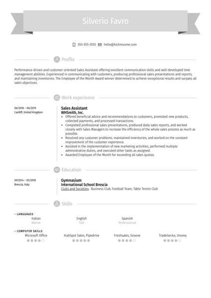 Sales Assistant Resume Sample