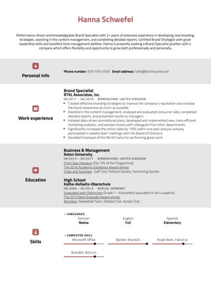 Brand Specialist Resume Sample