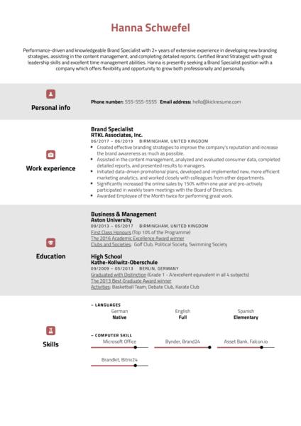 Brand Specialist Resume Sample