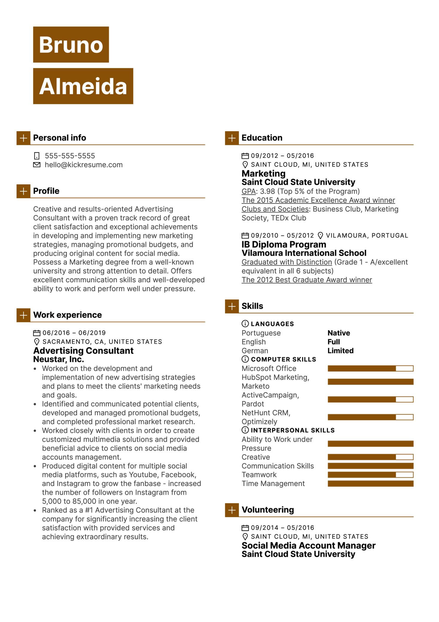 Advertising Consultant Resume Example (parte 1)