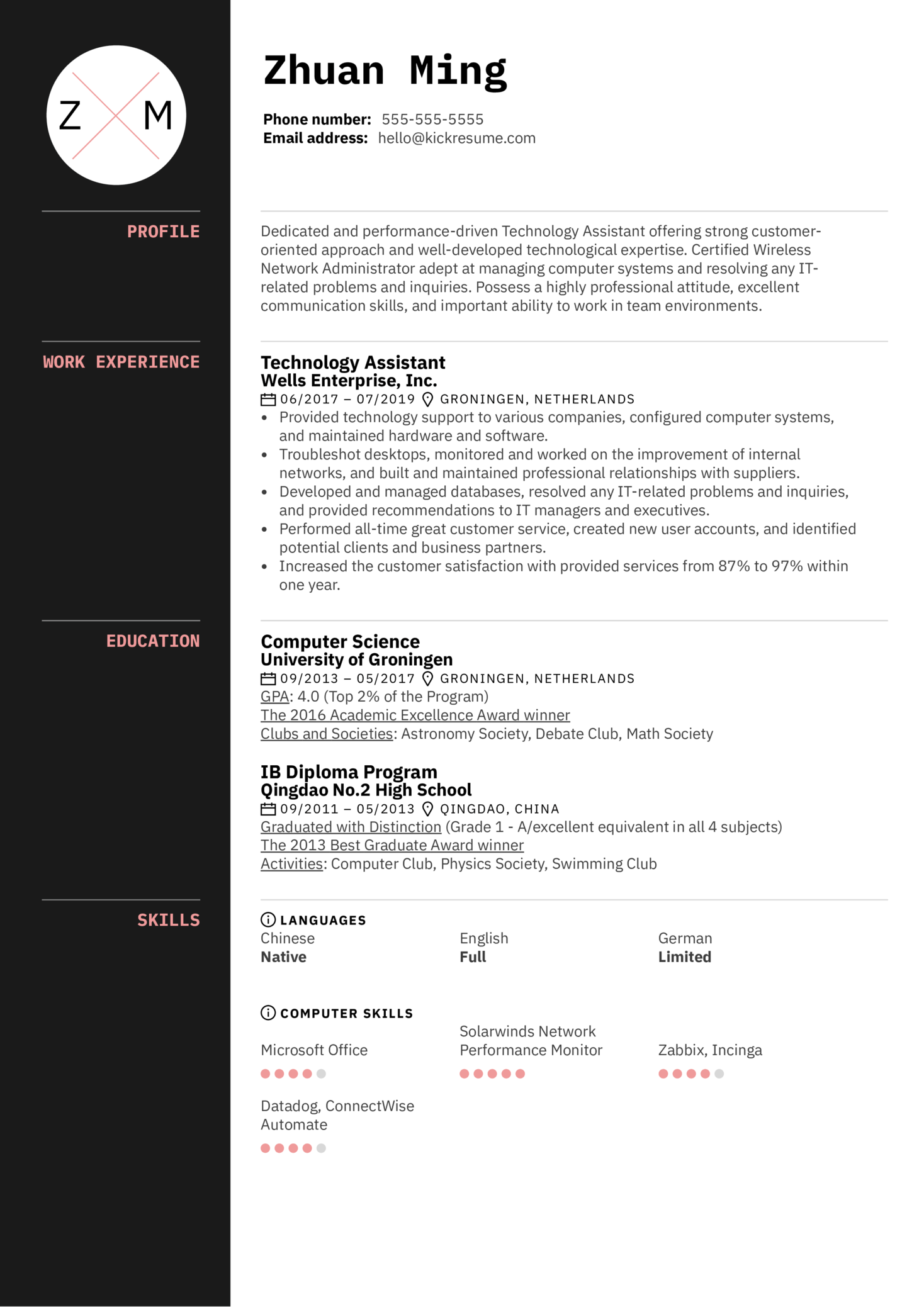 Technology Assistant Resume Sample (časť 1)