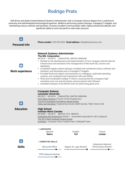 Network Systems Administrator Resume Template