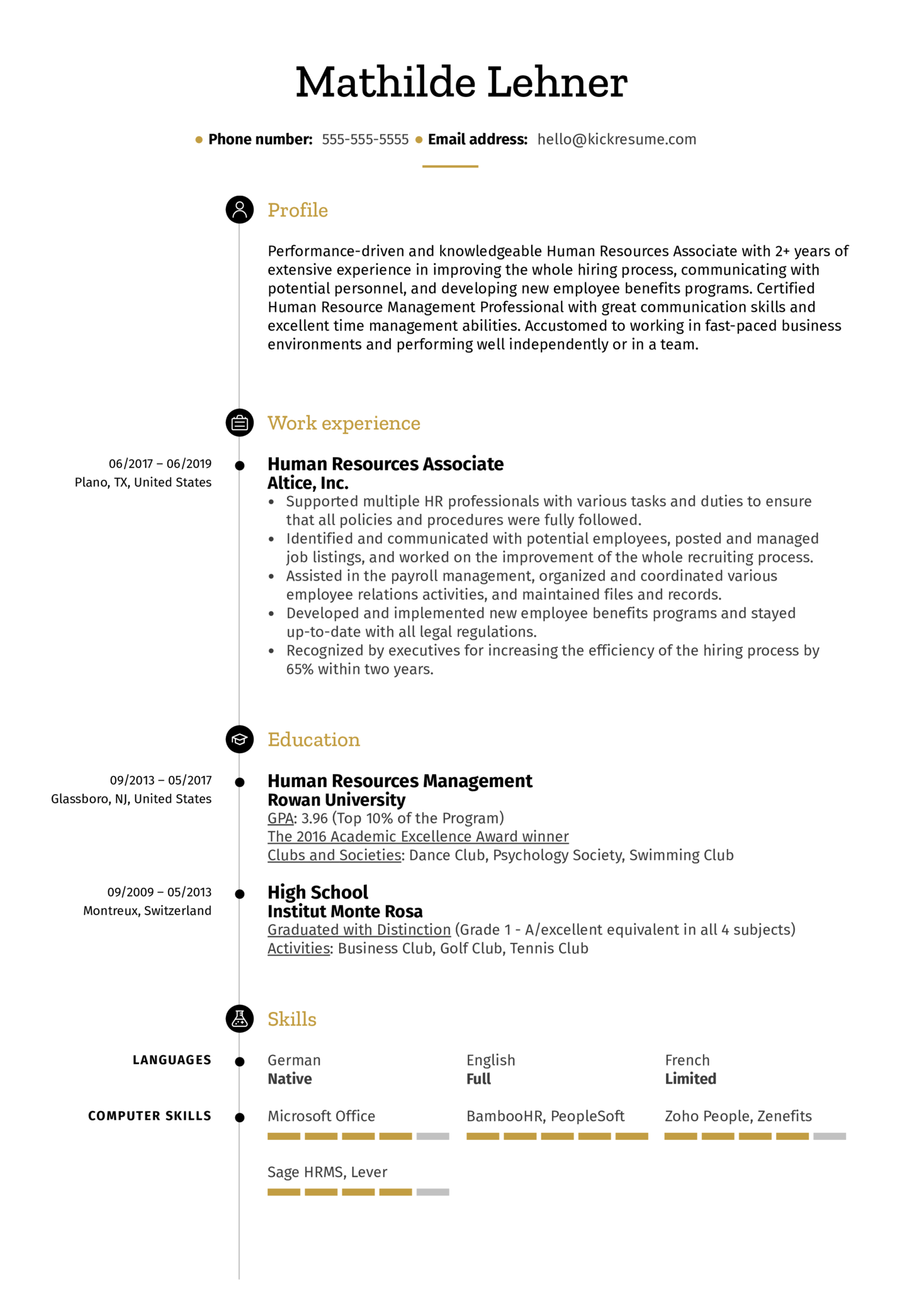 Human Resources Associate Resume Example