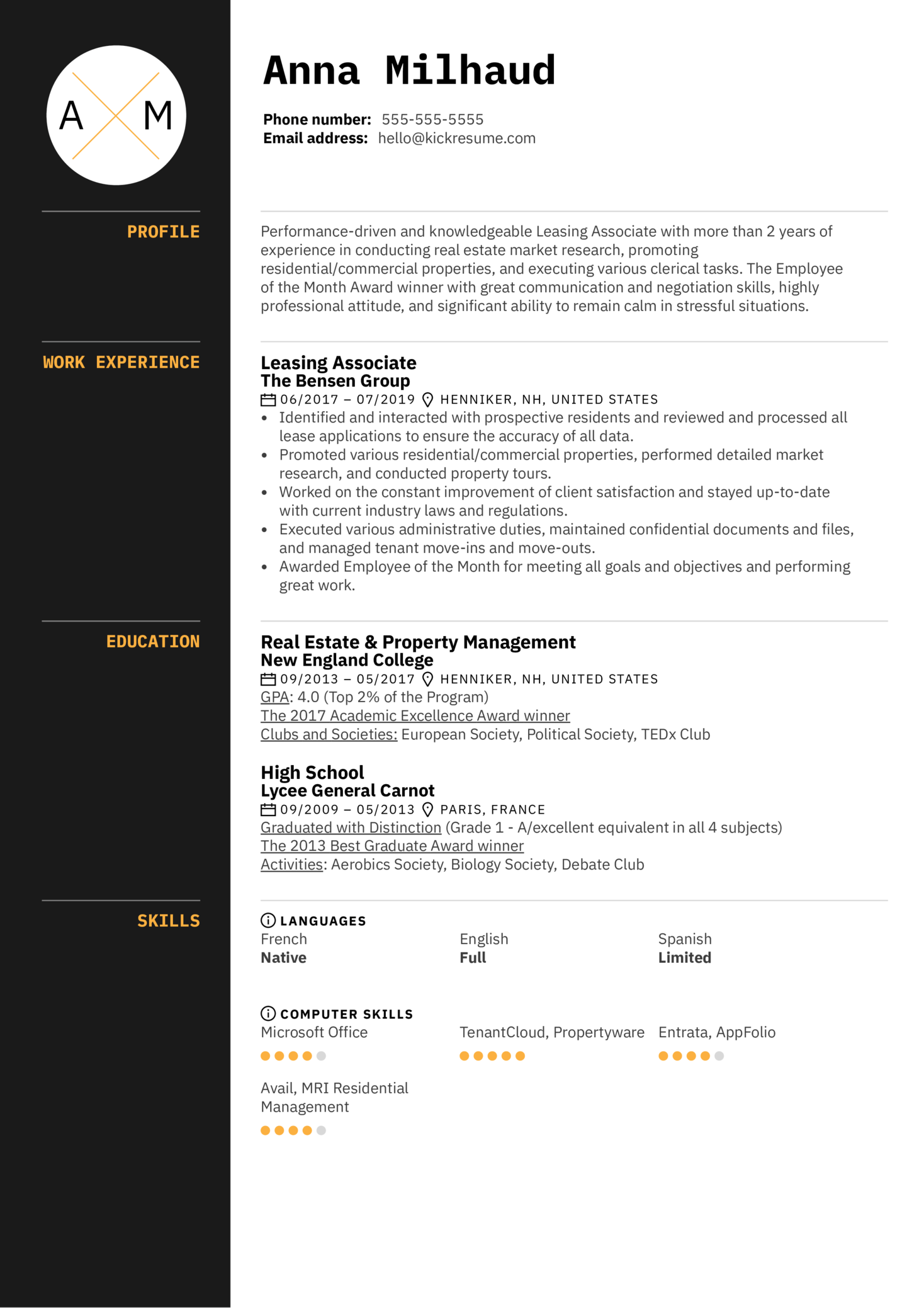 Leasing Associate Resume Sample (Part 1)