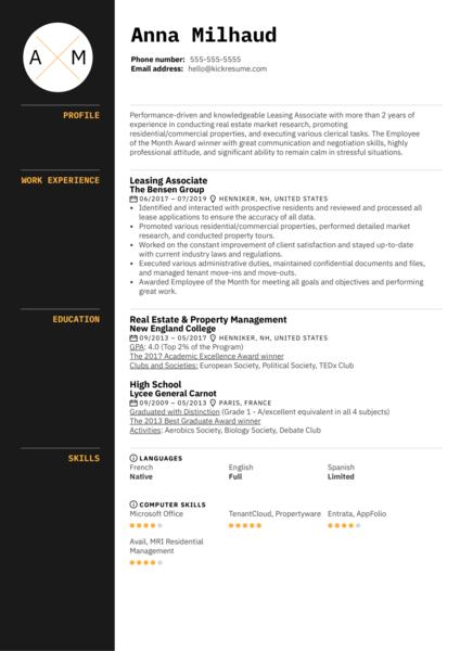 Leasing Associate Resume Sample