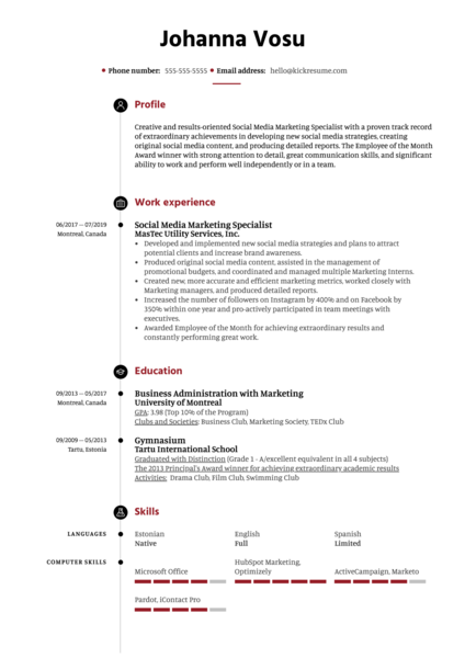 Social Media Marketing Specialist Resume Example