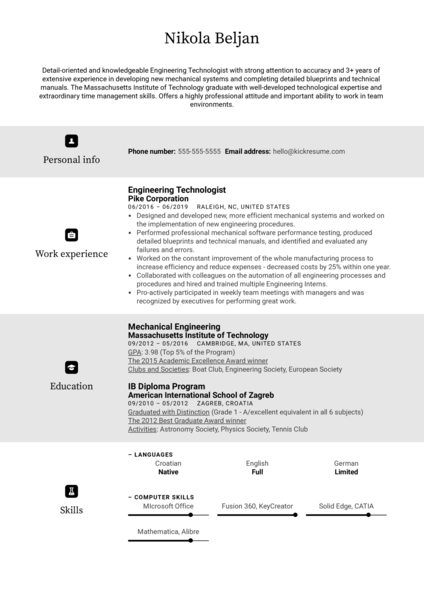 Engineering Technologist Resume Sample