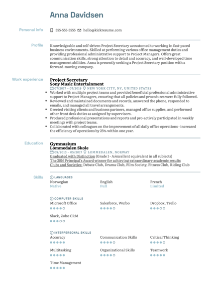 Project Secretary Resume Sample