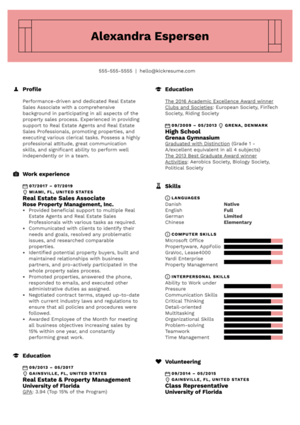 Real Estate Sales Associate Resume Example