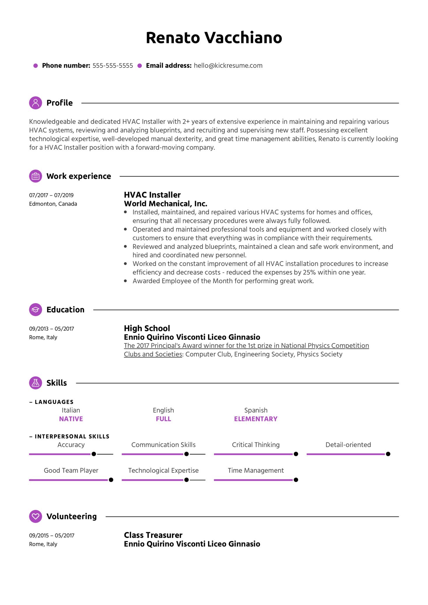 HVAC Installer Resume Example (parte 1)