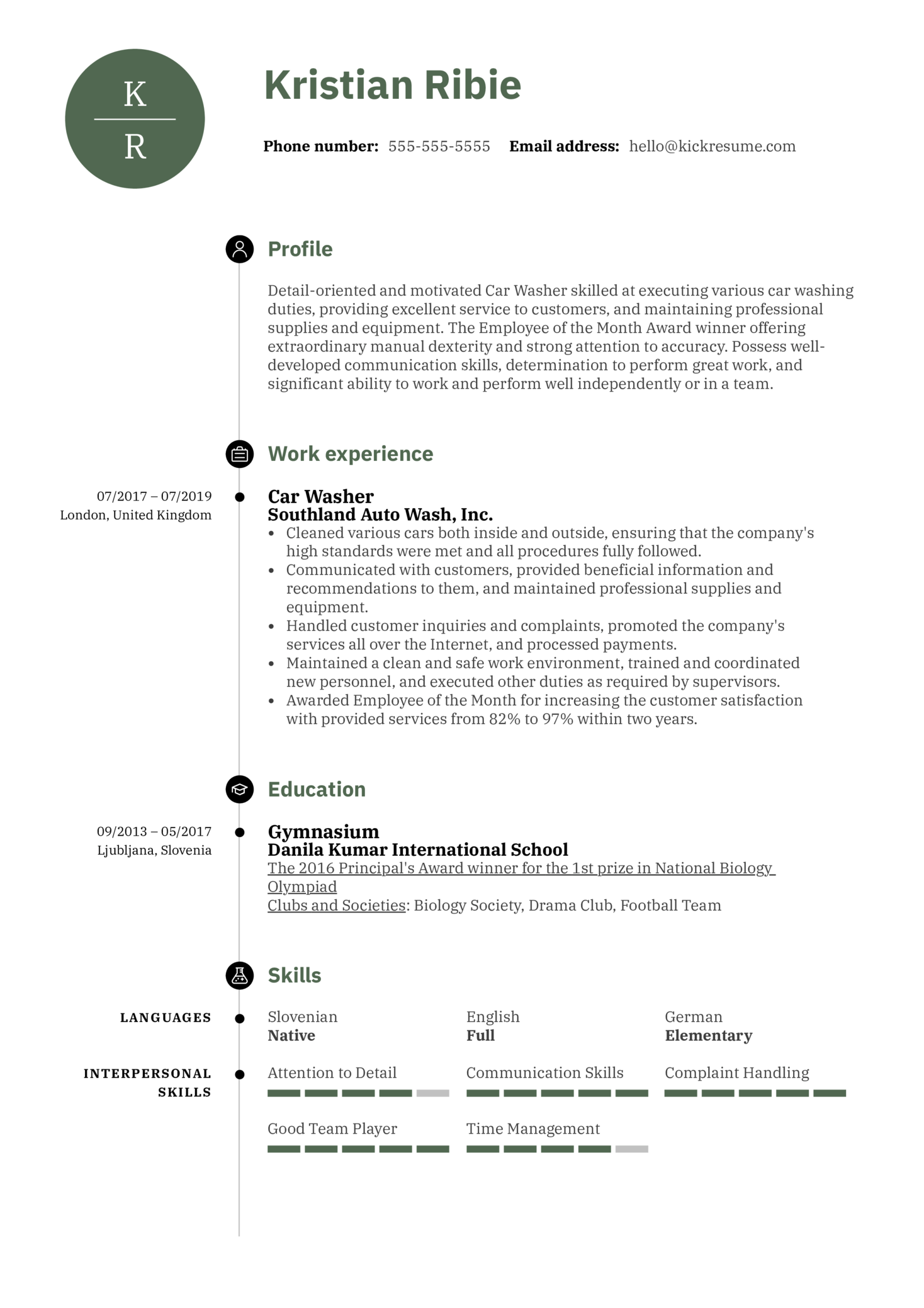 Car Washer Resume Sample (Teil 1)