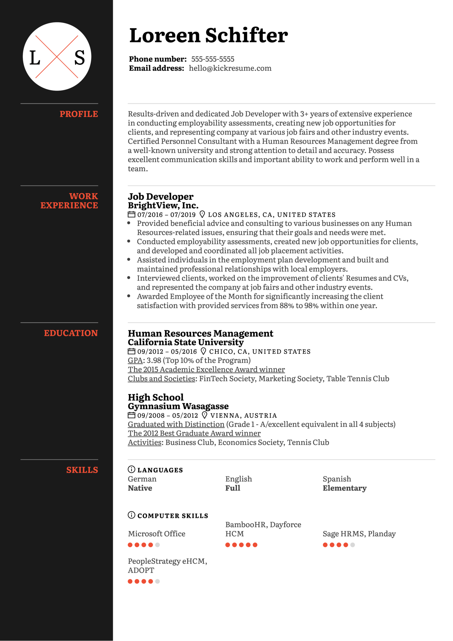 Job Developer Resume Sample (časť 1)
