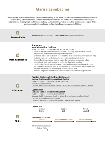 Seamstress Resume Example