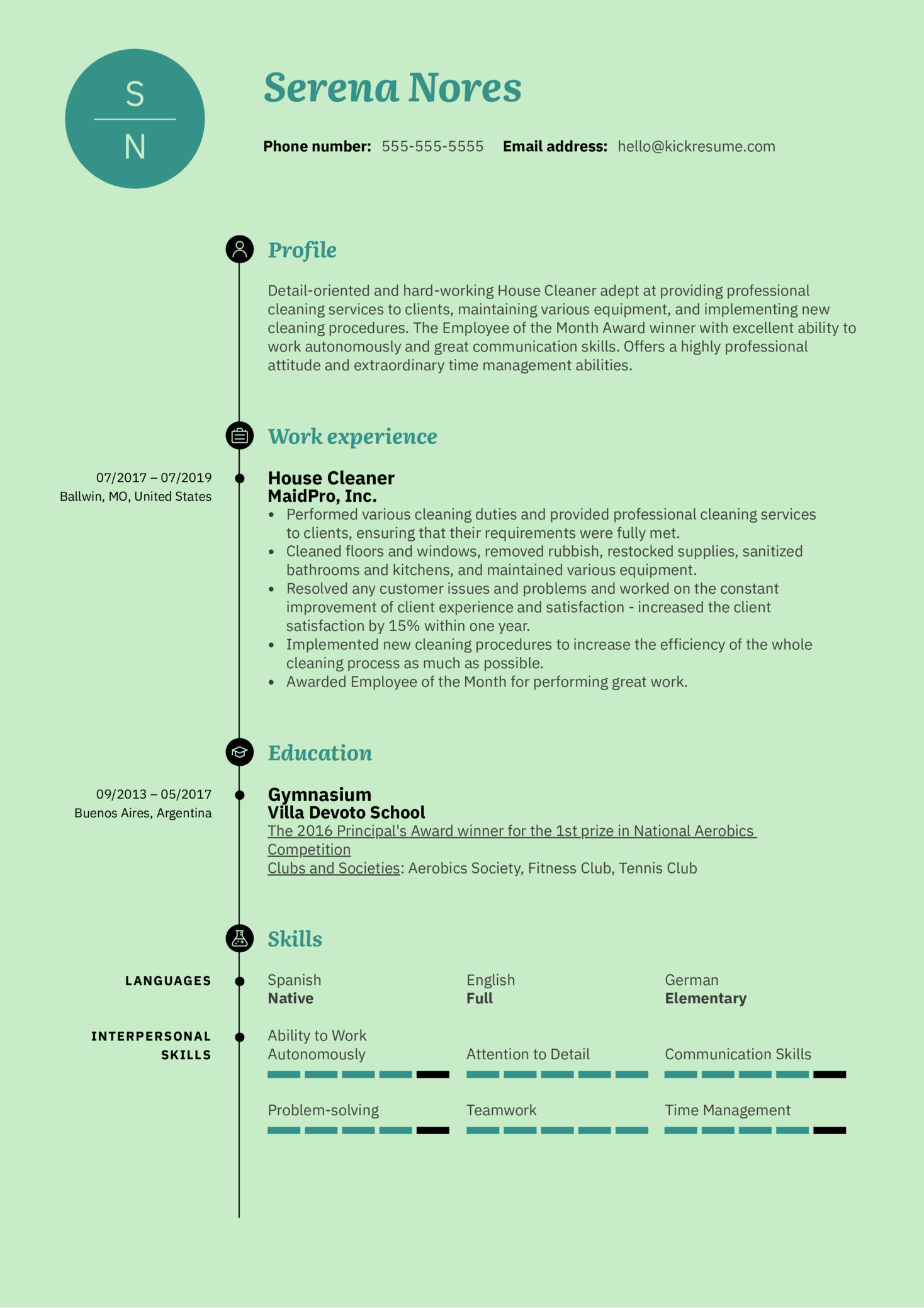 House Cleaner Resume Sample